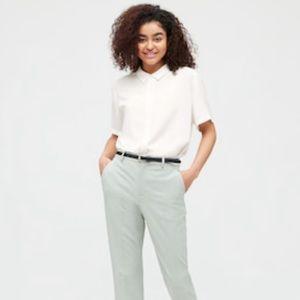 Uniqlo White Short Sleeve Rayon Button Down Shirt
